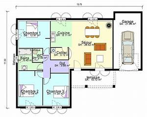maison contemporaine plans maisons With plan maison plain pied 3 chambres terrasse