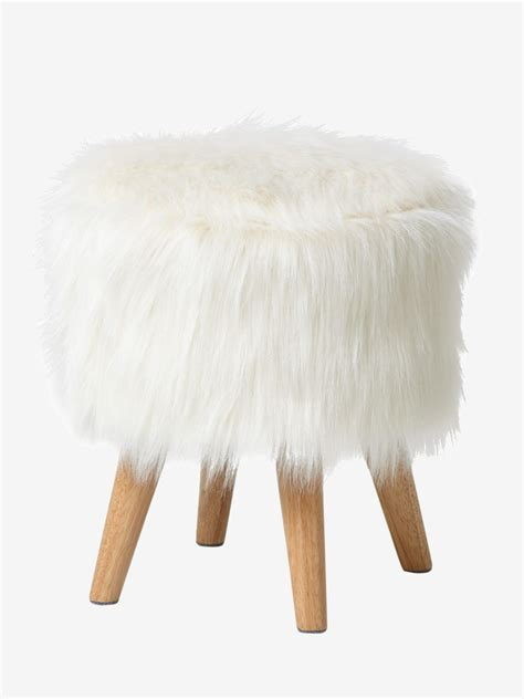 tabouret fausse fourrure blancbois avec son style