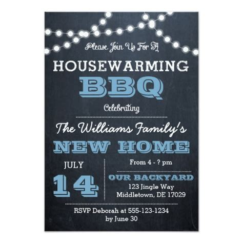 housewarming cards to print chalkboard lights blue housewarming invitations zazzle
