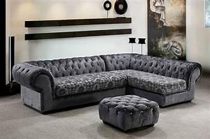 grey dream mini micro fiber sectional sofa with ottoman With fabric sectional sofas with ottoman