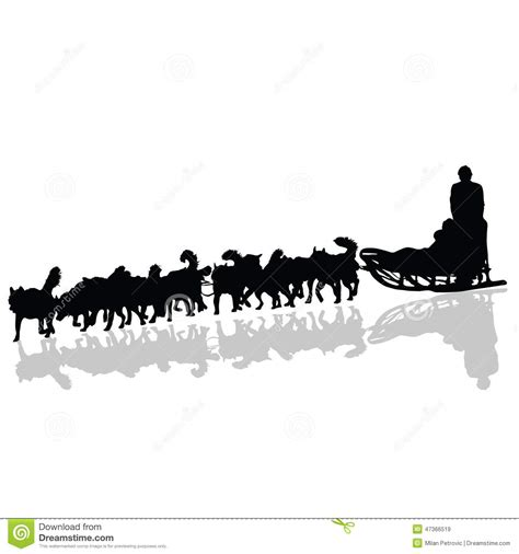 Dogs Pulling A Sled In Black Vector Silhouette Stock ...