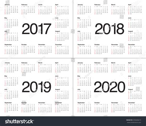 simple calendar template stock vector