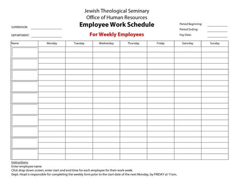 Hourly Work Schedule Template by Hourly Schedule Template And Weekly Schedule Template Word