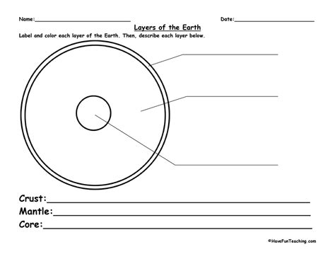 layers of the earth worksheet teaching