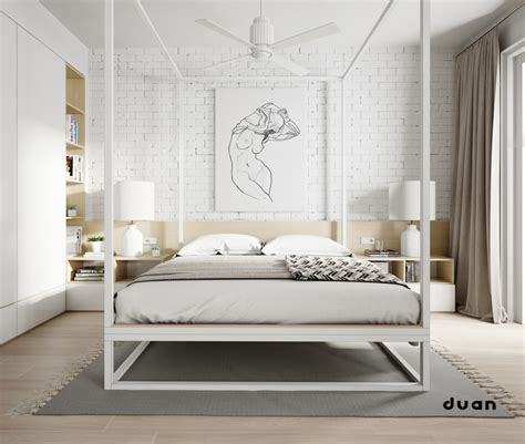 chambre avec un mur en briques blanches