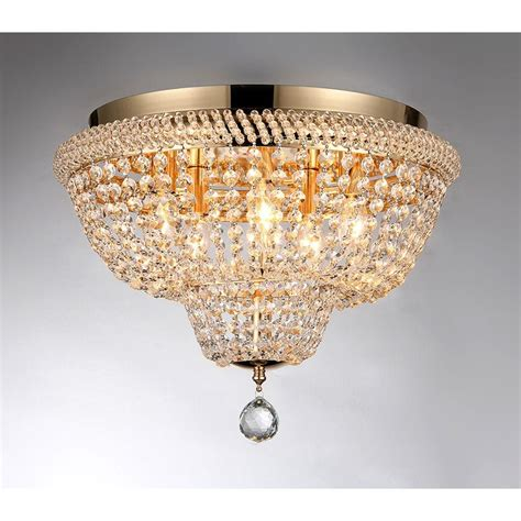 Warehouse Of Tiffany Sammy 16 In Gold Flush Mount With