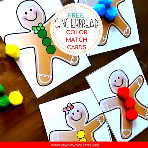 gingerbread color gingerbread color match on activity cards toddlers