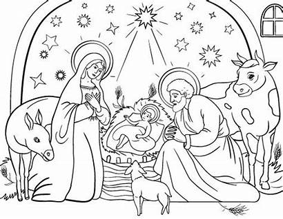 Nativity Coloring Scene Pages Christmas Drawing Sheets
