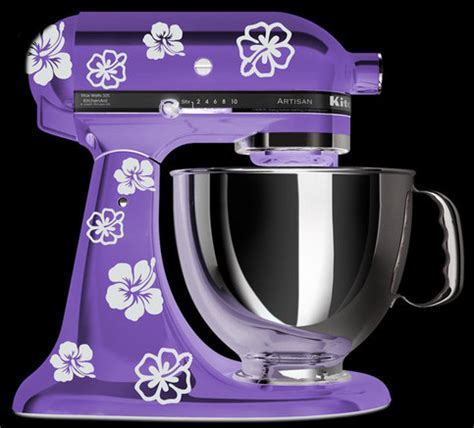 kitchenaid mixer art hibiscus flower decal  storenvy
