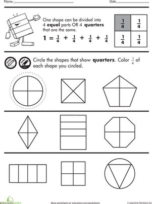 Shape Fractions Quarters  Worksheet Educationcom
