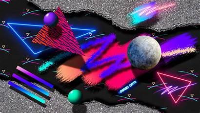 Aesthetic 80s Abstract Neon Wallpapers Desktop Wave