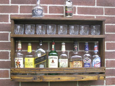 Make Liquor Cabinet Ideas by Exposed Brick Wall And Rustic Diy Reclaimed Wood Floating