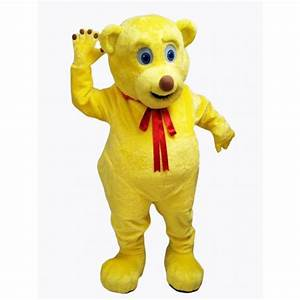 Yellow Cut Teddy Bear Mascot Costume
