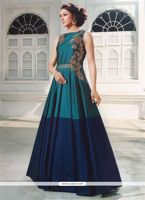 buy staggering embroidered work silk blue designer gown