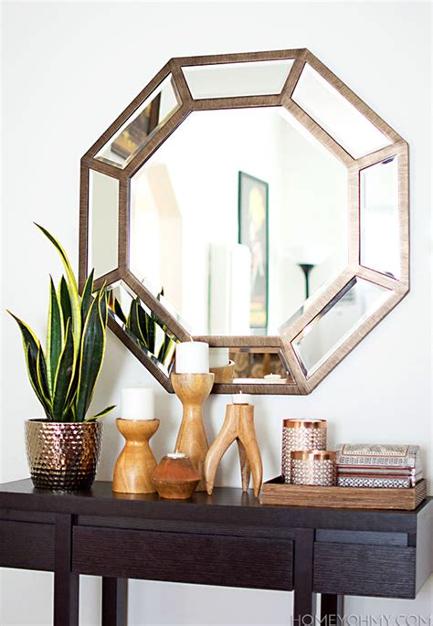 octagon mirrors decorative entryway and lighting update with kenroy home styling