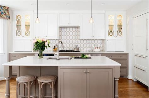 white upper kitchen cabinets  taupe  kitchen drawers transitional kitchen