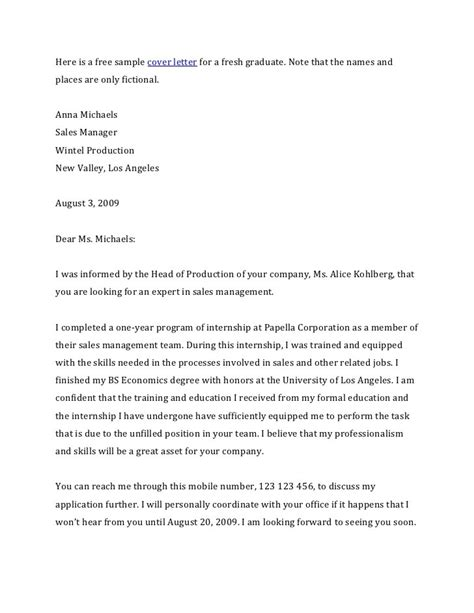 graduate sales and marketing cover letter