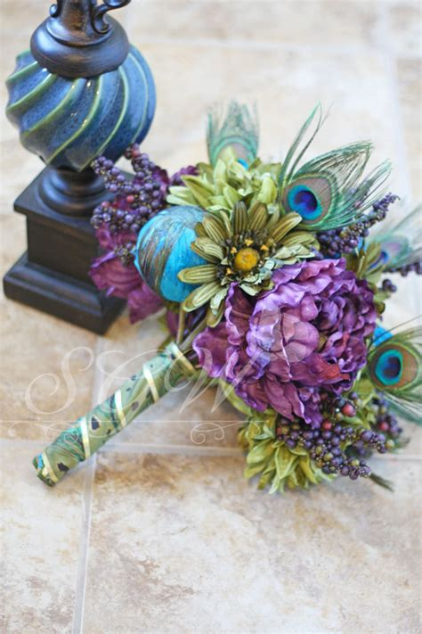 Peacock Wedding Bouquet Purple Peacock Feather Bouquet