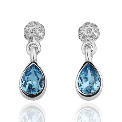 swarovski crystals blue raindrop diamind earrings
