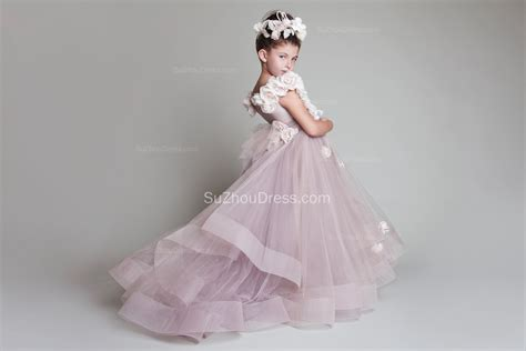 sweep train flower girl dresses  flowers tiered draped