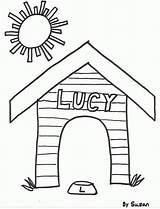 Coloring Dog Doghouse Drawing Snoopy Template Easy Pucca Clipart Sketch Library Foolish Wise Popular Coloringhome sketch template