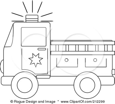 coloring page outline   fire truck   ladder