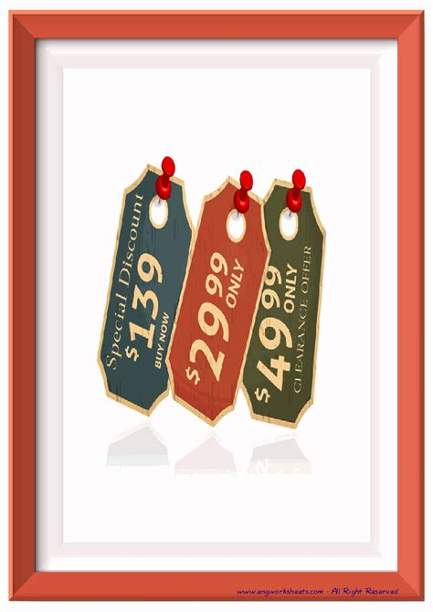 shopping esl printable english flash cards worksheets