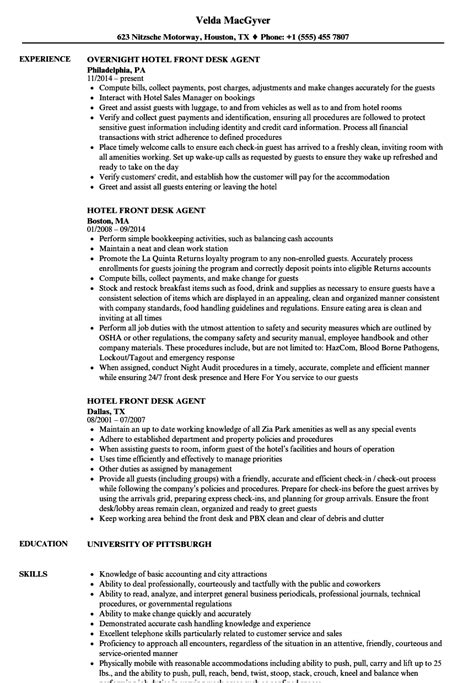 Front Desk Hotel Resume by Hotel Front Desk Resume Sles Velvet