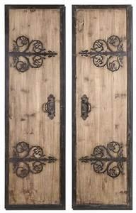 Wooden door wall decor : Wrought iron quot rustic wood door panels wall art spanish