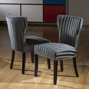 Luxury, Set, Of, 2, Wing, Back, Striped, Dining, Chairs, Black, Grey, Charcoal, In, 2020