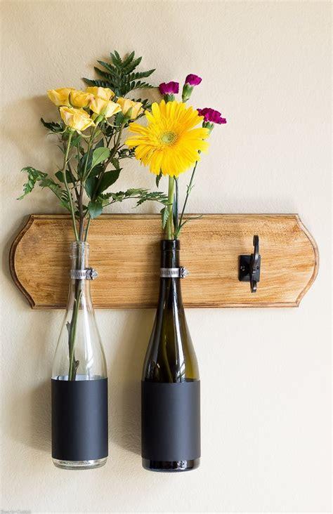 Wine Vase by Diy Wine Bottle Wall Vase Tutorial Thyme For Cocktails