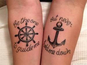 Anchor & Wheel Matching Tattoos For Couples In Love http ...