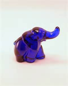Cobalt Blue Glass Elephant