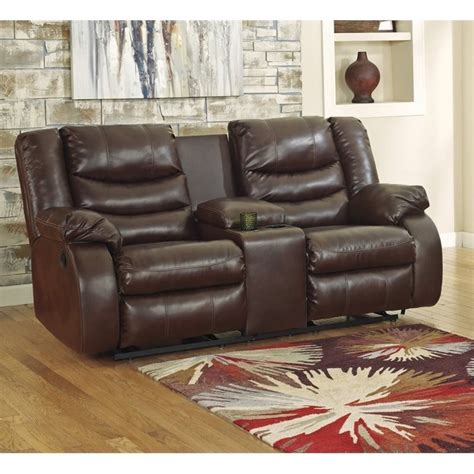 ashley linebacker leather reclining console loveseat