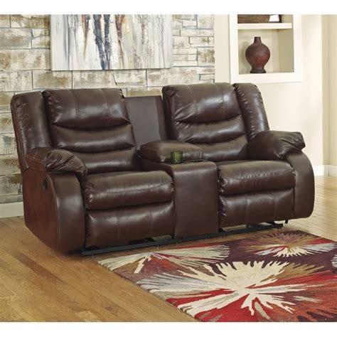ashley linebacker leather reclining console loveseat