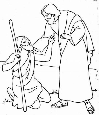 Jesus Blind Heals Coloring Bartimaeus Clipart Luke