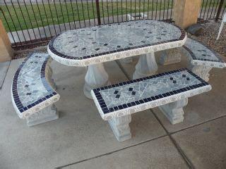 concrete patio garden table tile with 3 benches and