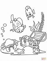 Treasure Coloring Chest Sea Bottom Drawing Underwater Under Printable Fish Pirate Paper sketch template