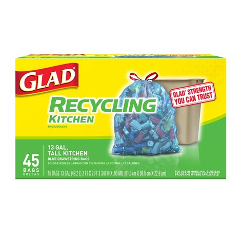 glad tall kitchen trash bags  gallon  bags blue