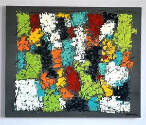 Tableau Moderne Coloré : tableau moderne abstrait color tableau contemporain turquoise blanc rouge orange format 50 ~ Teatrodelosmanantiales.com Idées de Décoration