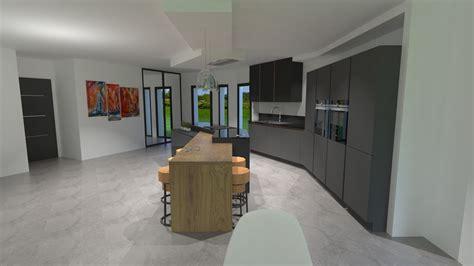 cuisine concept plus cuisine gris anthracite bois et cuivre avec îlot design