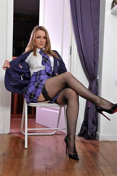 Uniform Heels Stockings Busty Tops Fishnet Schoolgirl
