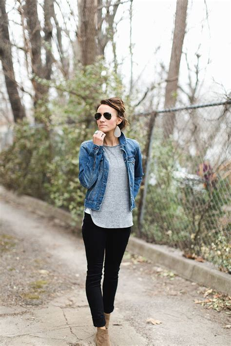 Ankle boots black pants denim jacket gray tee casual basics outfit inspiration street ...