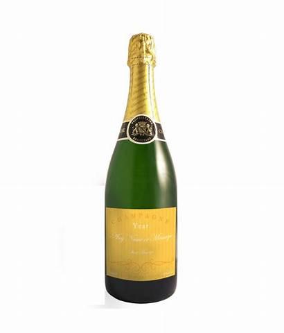 Champagne Bottle Personalised Yellow Elegant Label Wine