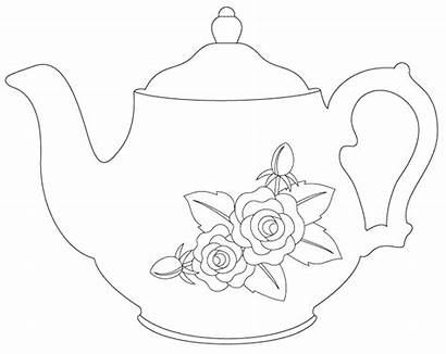 Teapot Tea Digital Coloring Stamps Drawing Pages