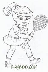 Tennis Coloring Player sketch template