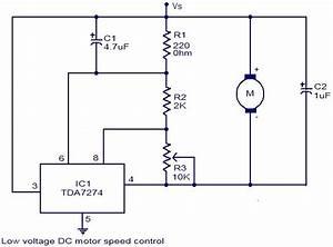 Low Voltage Dc Motor Speed Control Circuit Using Tda7274