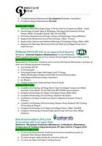 resume mechanical technician and gas muhammad zahid cv mechanical technician