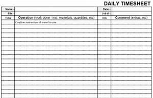 Daily Sheet Calendar Printable Blank Daily Pdf Time Sheet Form Time Sheets
