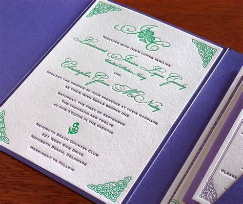 celtic letterpress wedding invitation gallery teagan
